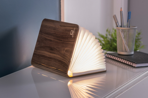 Buch als Lampe Holz, groß.