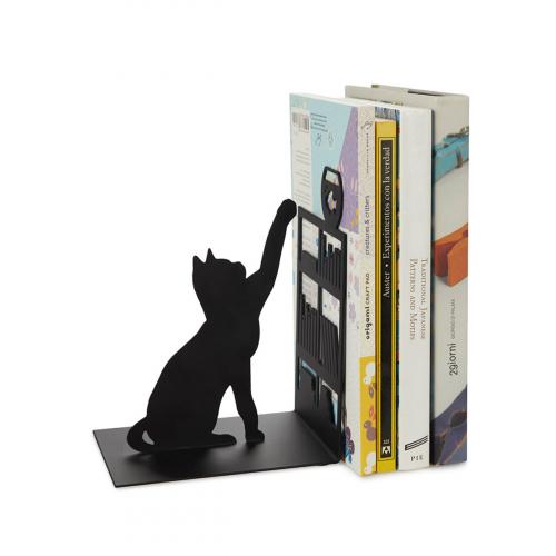 Buchstütze »Katze am Bücherregal«.