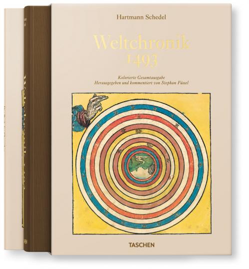 Hartmann Schedel. Weltchronik 1493. Kolorierte Gesamtausgabe im Schuber.