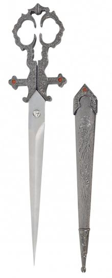 Mittelalter-Schere mit Scheide silberfarben