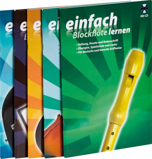 Musiklehrbücher für Neulinge und Wiedereinsteiger. Blockflöte, Blues Harp, E-Bass, Ukulele & Violine. 5 Bände mit CDs.