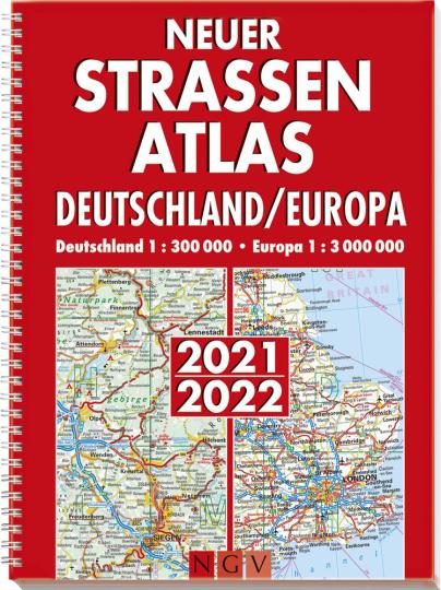 Neuer Straßenatlas. Deutschland/Europa 2021/2022. Deutschland 1:300 000. Europa 1:3 000 000.