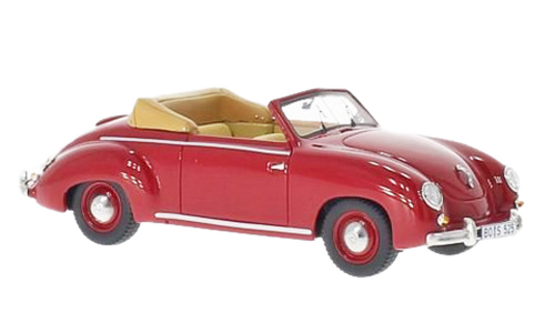 VW Käfer Cabrio im Maßstab 1 : 43 rotes Modell, Dannenhauer & Stauss 1951